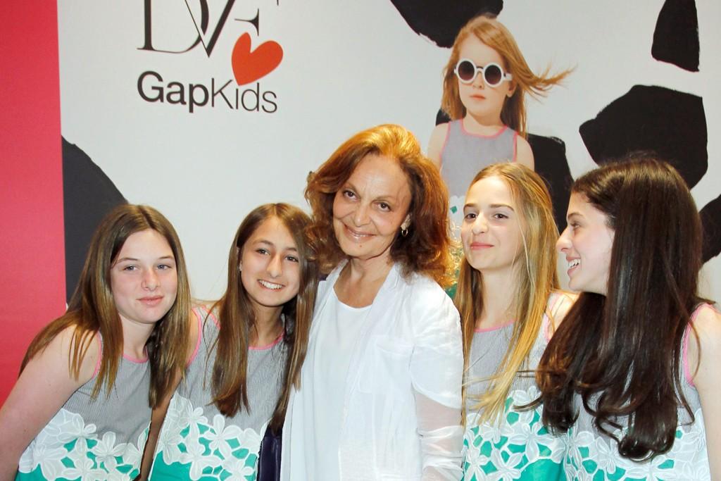 Diane von Furstenberg with granddaughter Talita and friends.