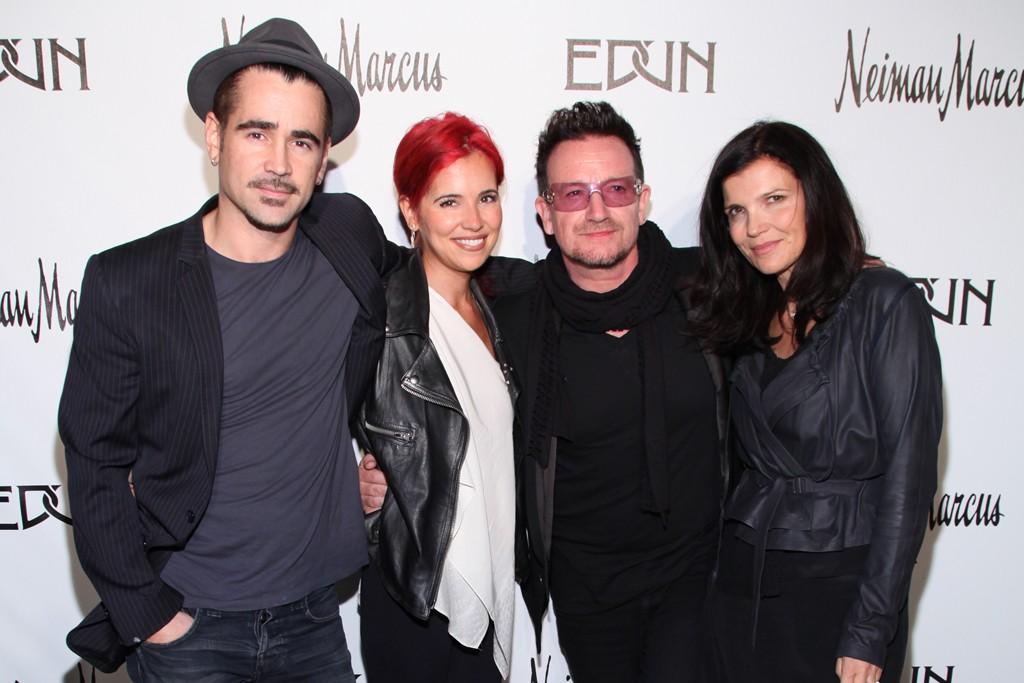 Colin Farrell, Claudine Farrell, Bono and Ali Hewson.