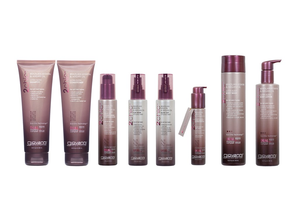 Giovanni's 2Chic Collection with Brazilian Keratin and Moroccan Argan Oil.
