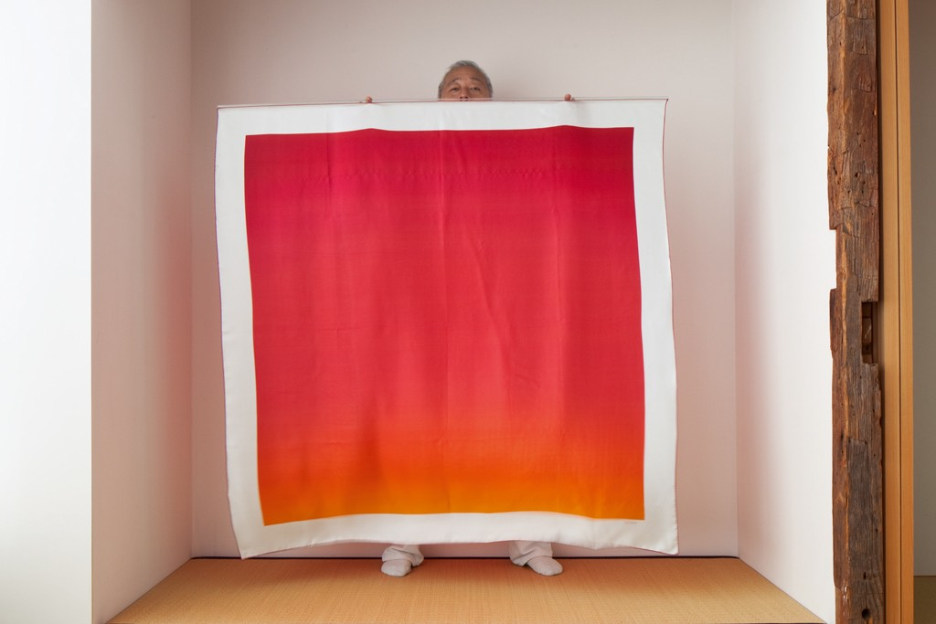 Hiroshi Sugimoto with one of his Hermès scarves.