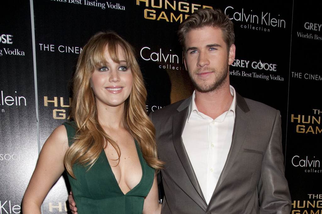 Jennifer Lawrence and Liam Hemsworth, both in Calvin Klein Collection