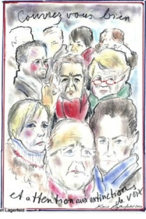 Karl Lagerfeld's first political sketch for French Elle