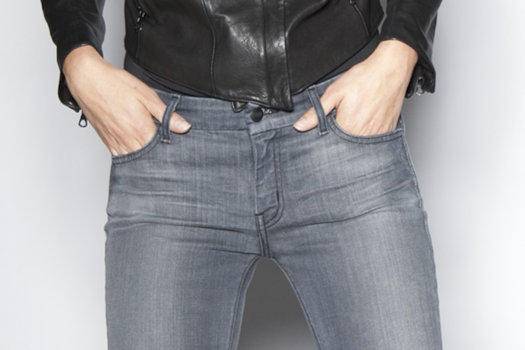 Koral: Gray skinny jeans with a 12-month lived-in length treatment from Koral Los Angeles