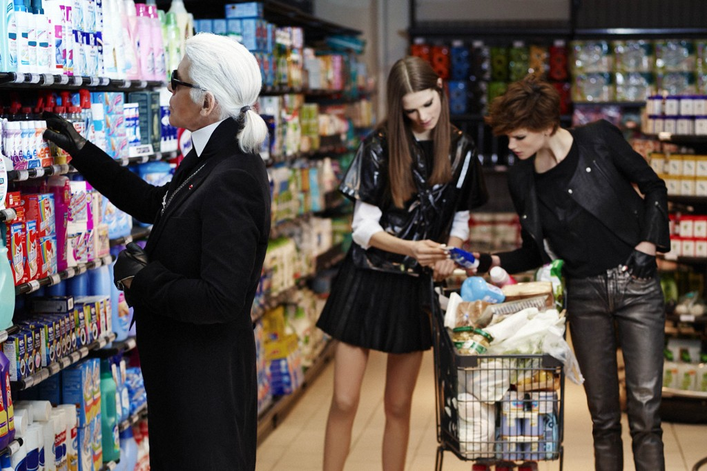 Karl Lagerfeld hits a supermarket for French Elle.