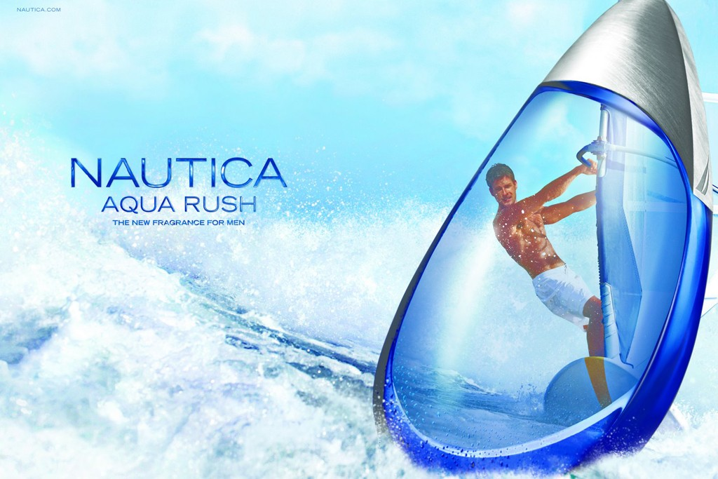 An ad visual for Nautica's Aqua Rush.