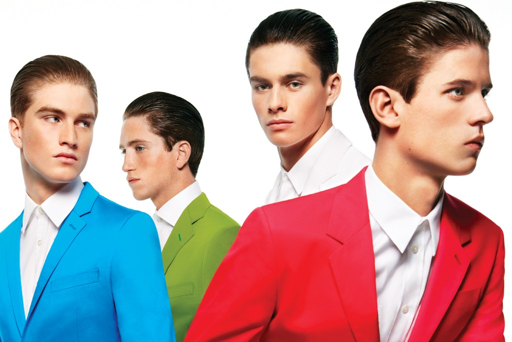 FROM LEFT: Topman's suit and Boss Selection's shirt. Bottega Veneta's suit and Marc by Marc Jacobs' shirt. Lacoste's blazer, Lanvin's shirt and Tommy Hilfiger's pants. Marc by Marc Jacobs' suit and Givenchy's shirt.