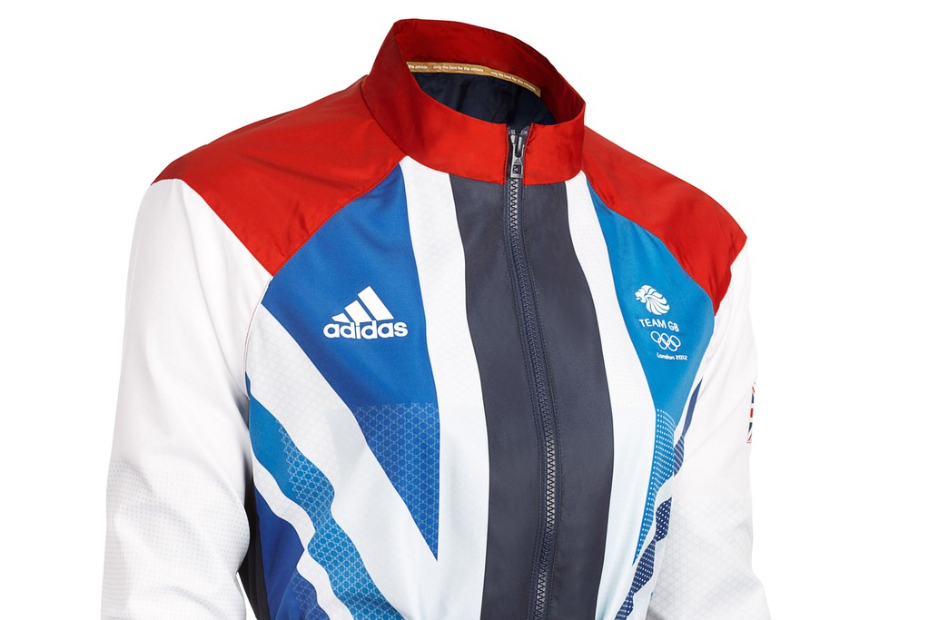 Front view of the women's Adidas Team GB presentation jacket designed by Stella McCartney.