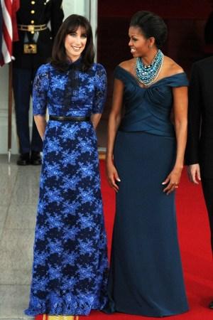 Samantha Cameron with Michelle Obama.