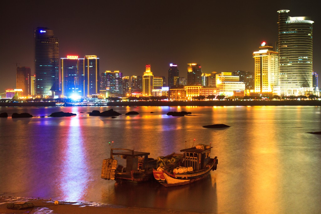 Night view of Xiamen, China.