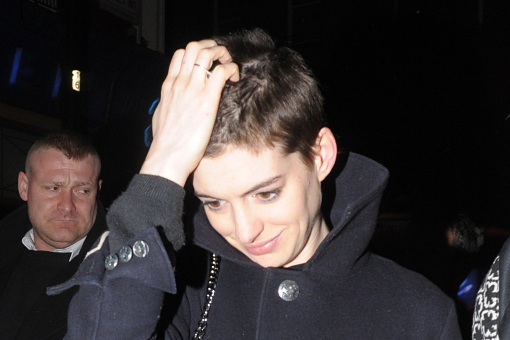 "Anne Hathaway, 2012: Her new choppy cut is reportedly in preparation for her role as Fantine in the upcoming ""Les Miserables."""