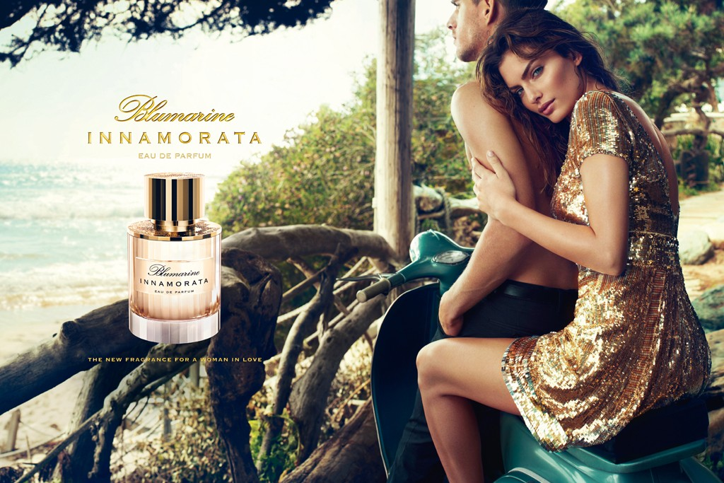 An ad visual for Blumarine's fragrance, Innamorata.