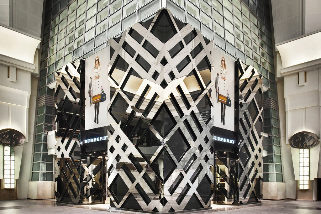 A view of the Burberry flagship located at the base of the Taipei 101 tower in Taiwan.
