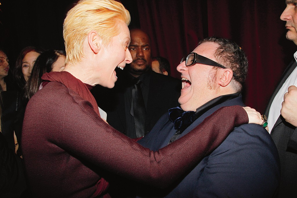 Tilda Swinton and Alber Elbaz at the Lanvin after party.