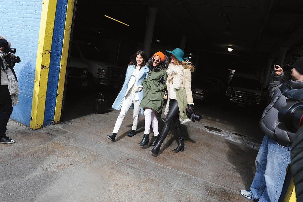 """""""It"""" girls Hanneli Mustaparta, Tamu McPherson and Candice Lake after DKNY."""
