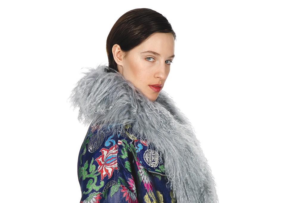 Vivienne Tam's silk brocade coat, Mongolian wool scarf and leather belt.