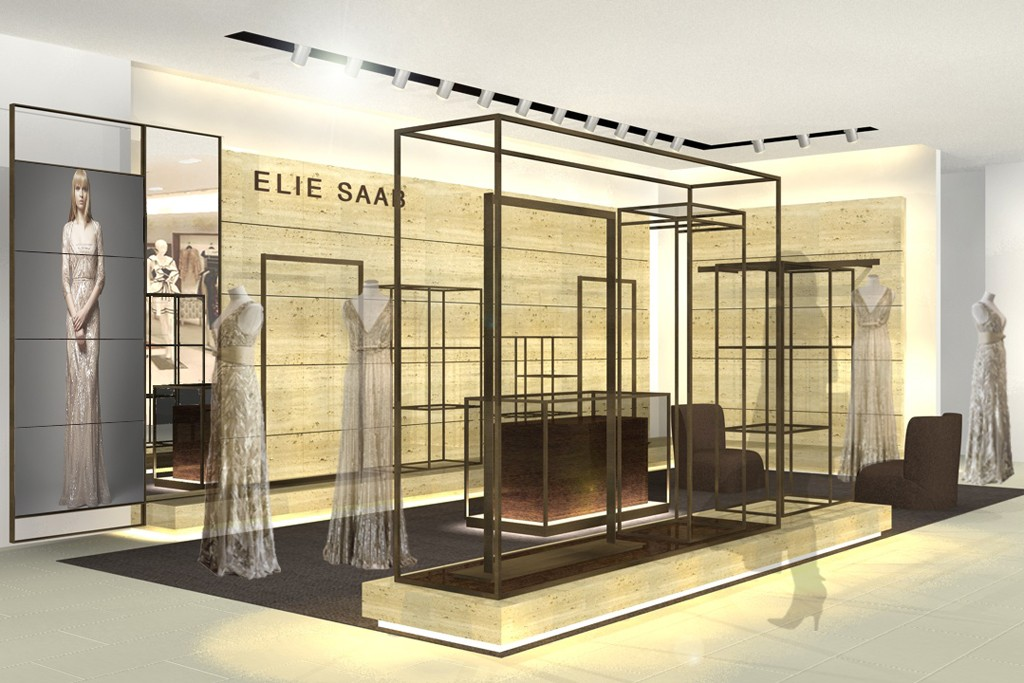 A rendering of the Elie Saab shop-in-shop in Mexico City.