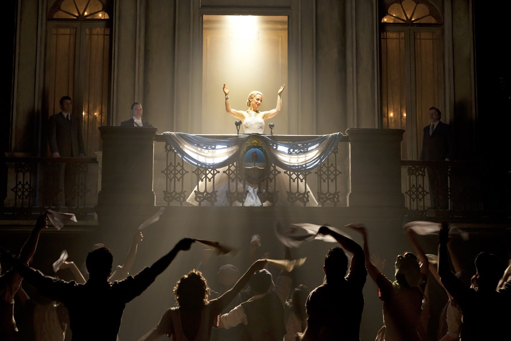 Elena Roger as Eva Perón wearing a Swarovski-encrusted ball gown in Broadway's revival of Evita.