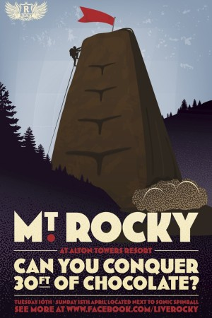 A poster for Mt. Rocky, a 32-foot climbing wall designed by Bompas & Parr.