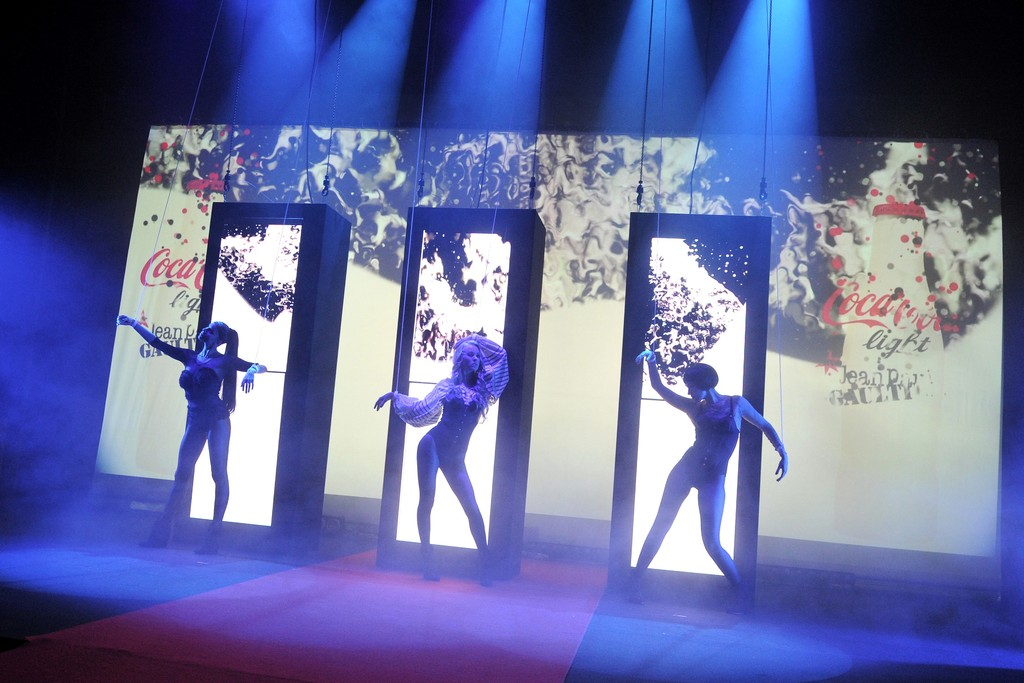 Models on stage at the Gaultier party for Diet Coke.