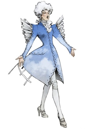 """Sketch of a costume for """"The Marriage of Figaro""""'s character Cherubino."""