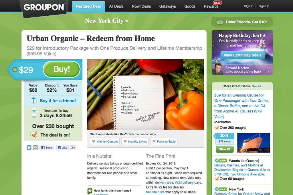 A view of Groupon's Web site.