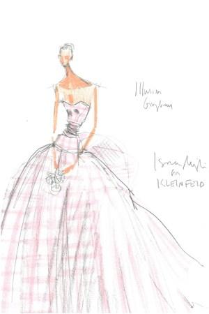 A sketch of an Isaac Mizrahi New York wedding dress for Kleinfeld.
