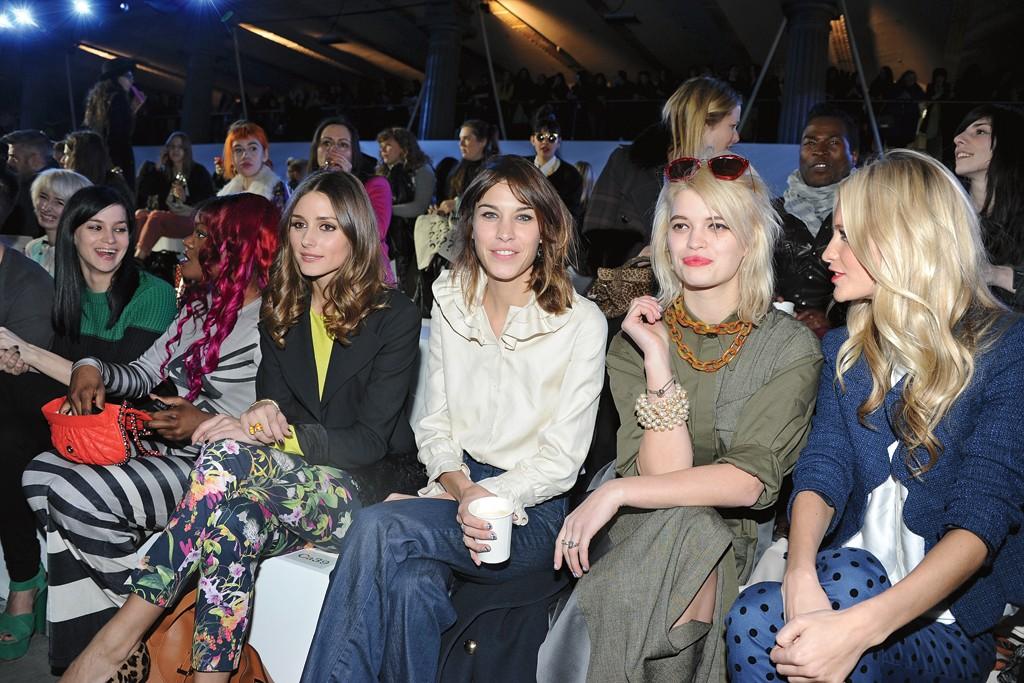 Front-row girls making the London scene: Leigh Lezark, Azealia Banks, Olivia Palermo, Alexa Chung, Pixie Geldof and Poppy Delevingne at Unique.