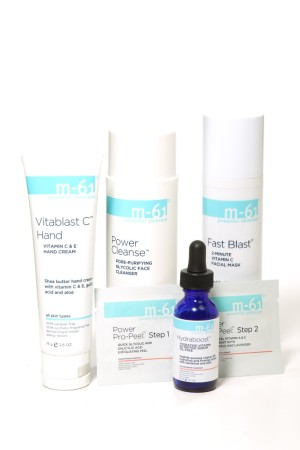 Products from the M-61 skin care line.