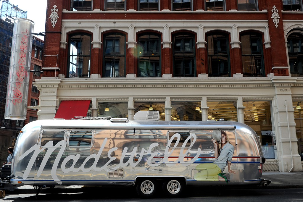 The Madewell Airstream heading cross-country.