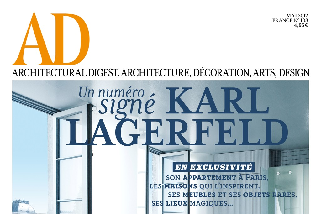 Cover and inside photos of French AD issue by Karl Lagerfeld