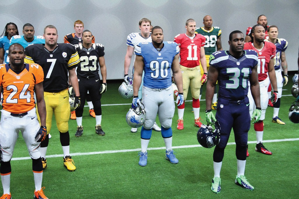 Players from each of the NFL's 32 teams modeled Nike's new uniforms.