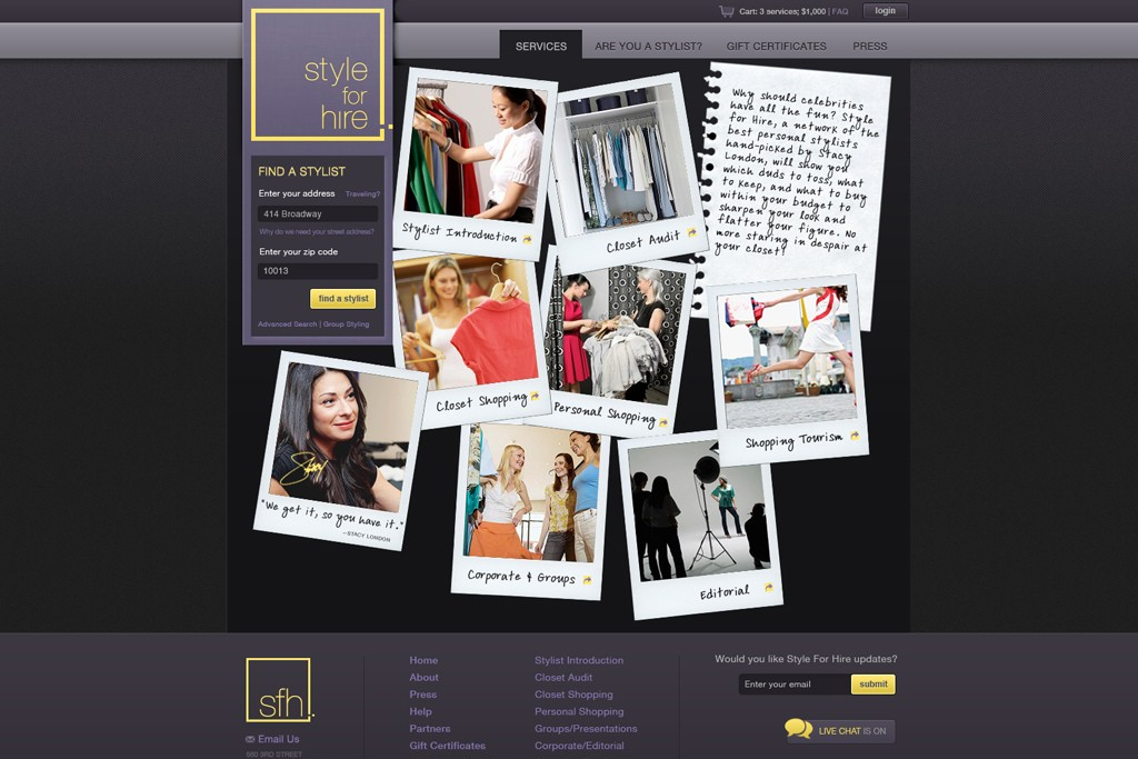 Style For Hire's homepage at styleforhire.com