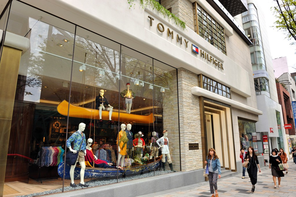 An exterior view of the Tommy Hilfiger flagship, on the intersection of Omotesando and Meiji Dori, in Tokyo.