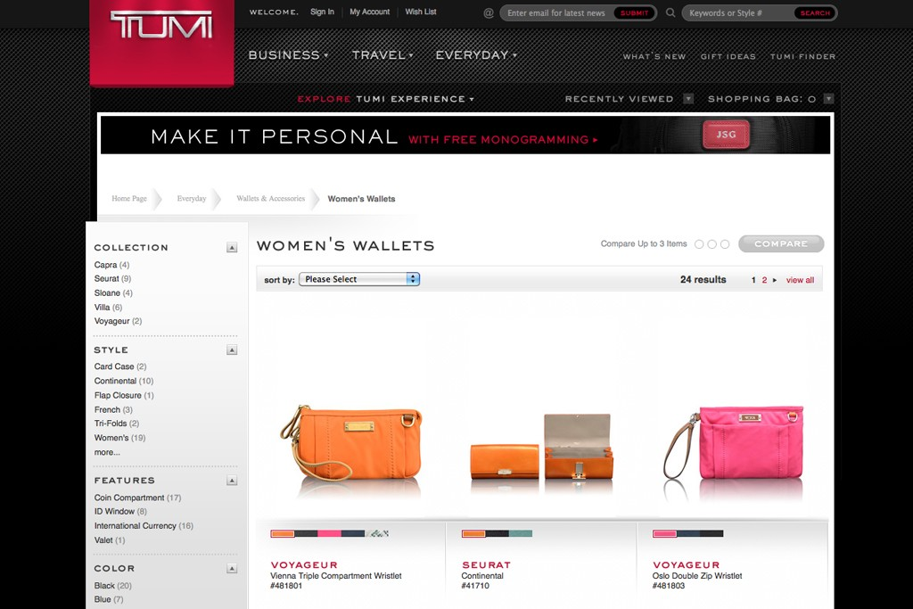 Women's wallets on the Tumi Web site.