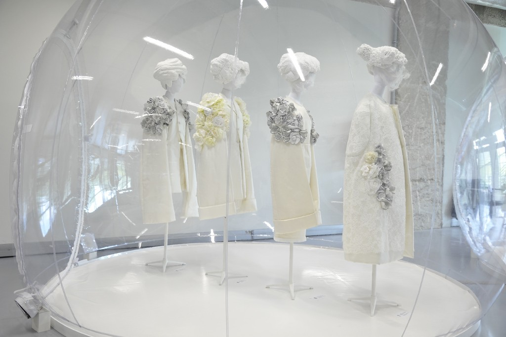 """Rei Kawakubo chose to display her """"White Drama"""" collection in bubbles."""