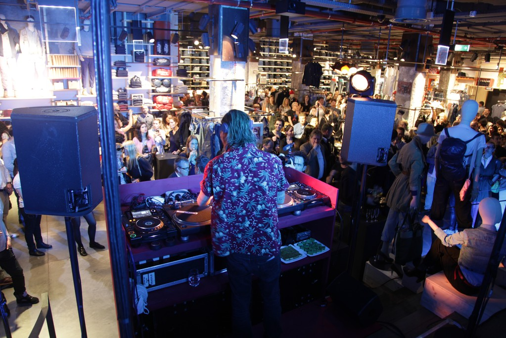 French electro DJ Pedro Winter performing at the opening night of the new Levi's flagship.