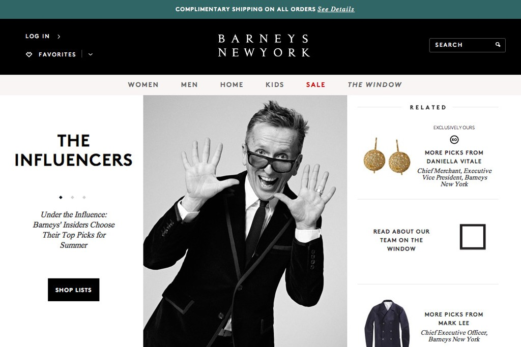 A look at Barneys' redesigned Web site.
