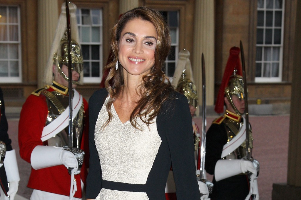 Queen Rania of Jordan does black-and-white proud in this elegant gown with a small peplum.