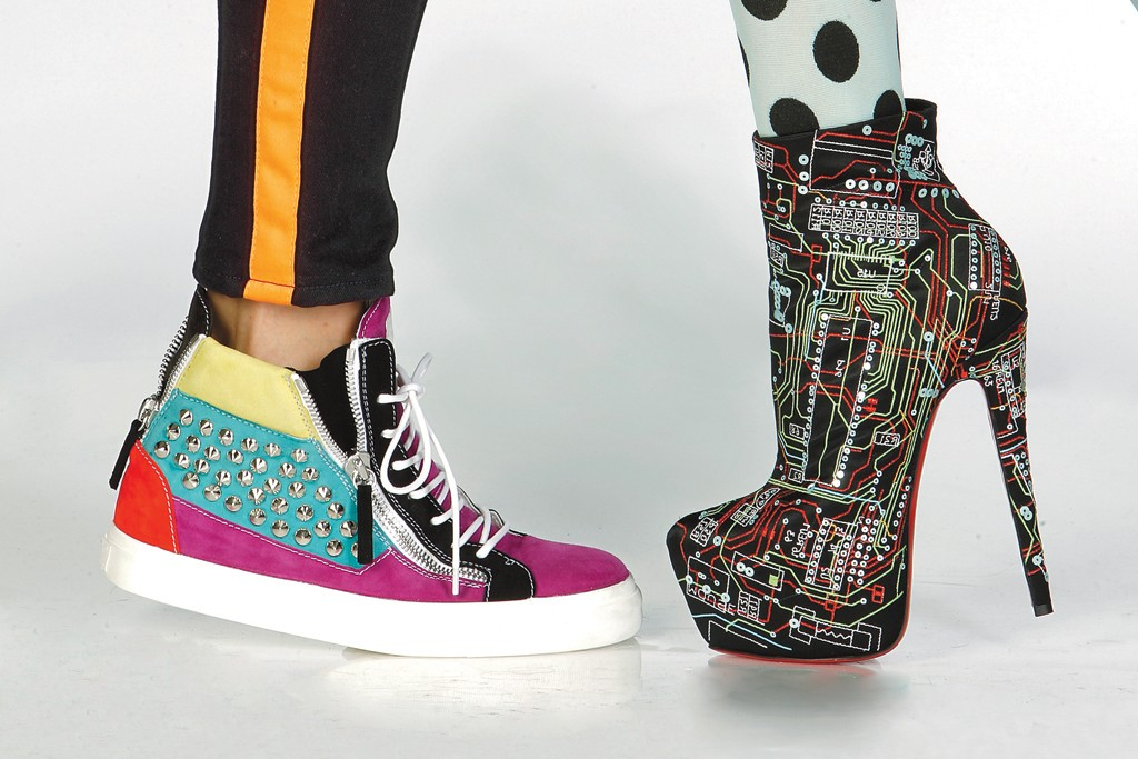 Giuseppe Zanotti's studded suede sneaker and Christian Louboutin's crepe satin bootie in a circuit board print.