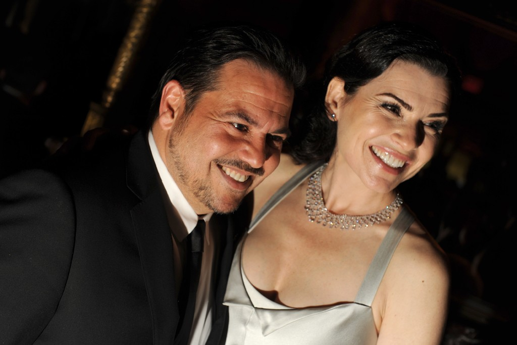 Julianna Marguiles in Narciso Rodriguez with the designer.