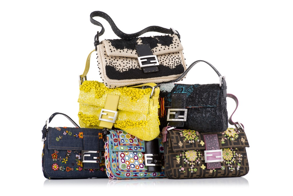 A still life of the six Fendi reedition bags.