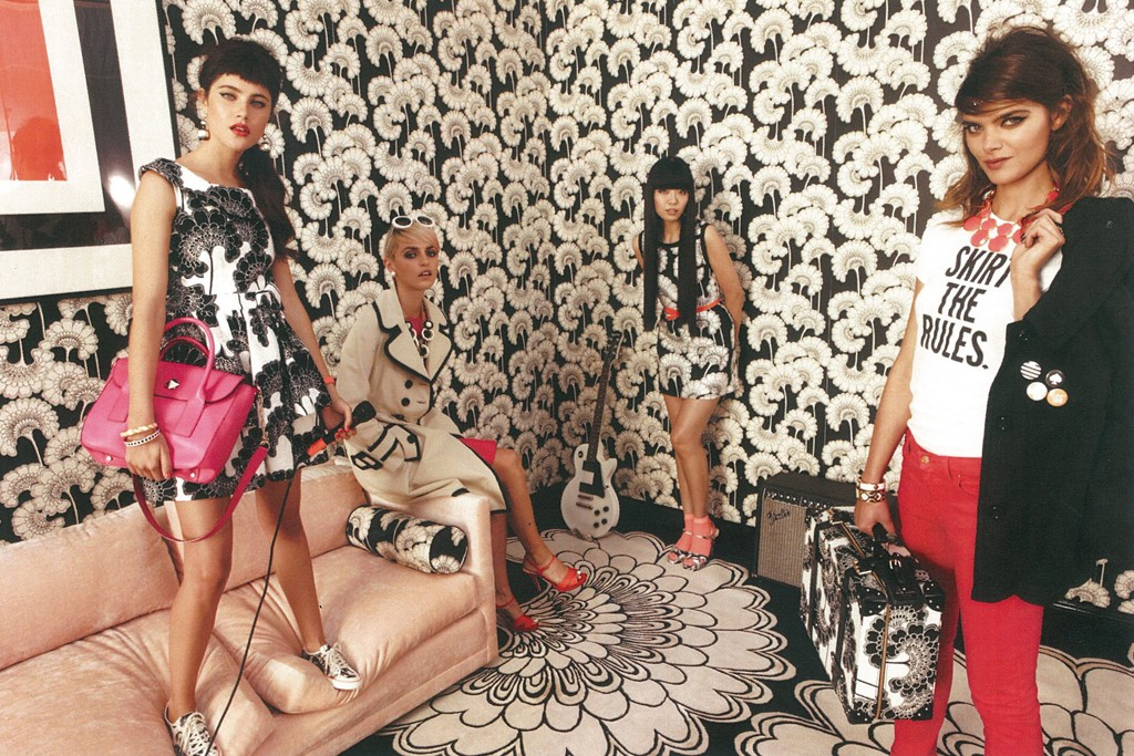 A visual for Kate Spade's spring 2012 collection, featuring prints by Florence Broadhurst.