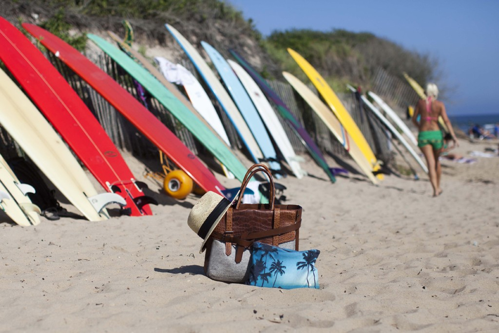Reed Krakoff's Boxer bag photographed by Garance Doré on the beach in Montauk.