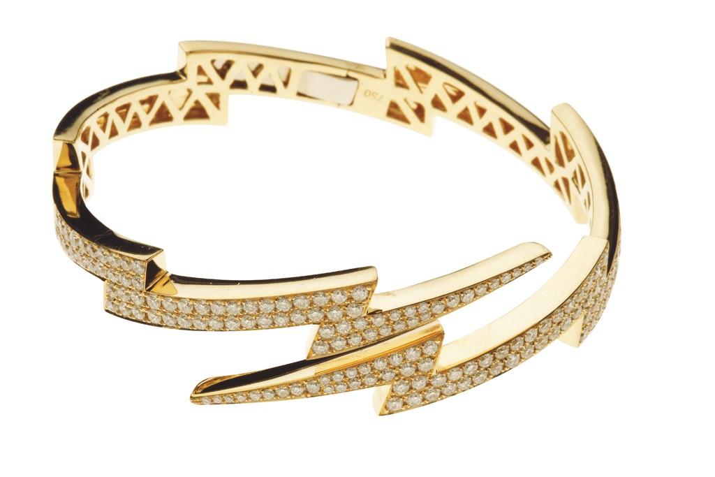 Anita Ko's 18-karat yellow gold bracelet with white diamonds.