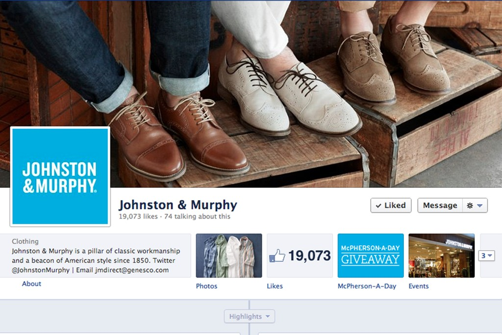 The new Johnston & Murphy Facebook campaign.