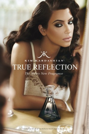 An ad visual for Kim Kardashian's fragrance, True Reflection.
