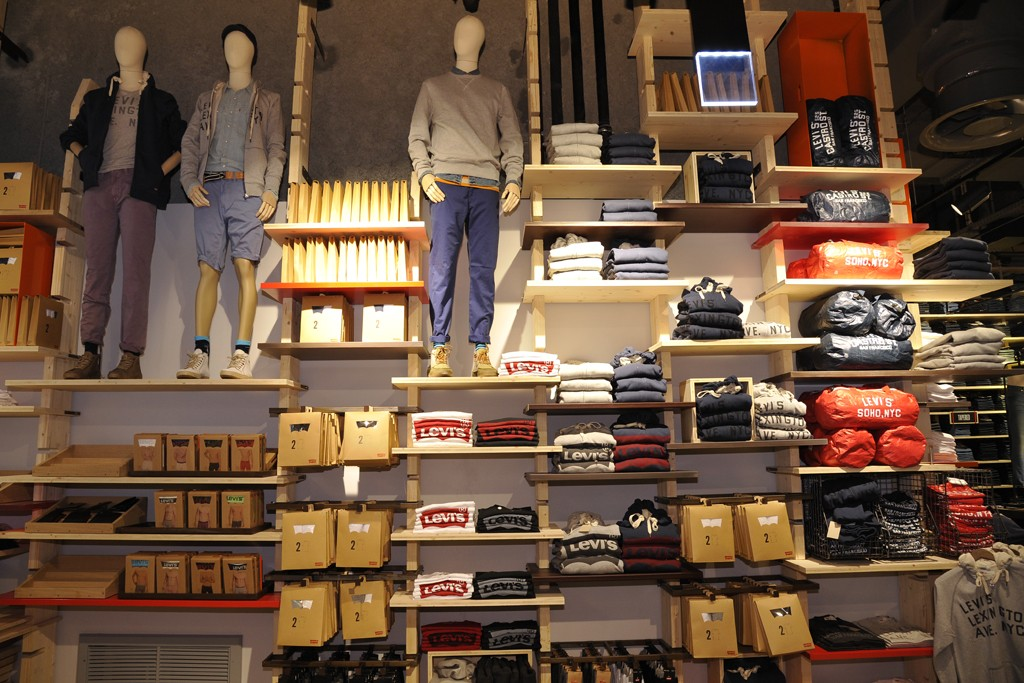 Interior of the Levi's flagship on the Champs-Elysées.