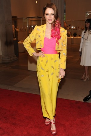 Coco Rocha in an outfit that once belonged to Elizabeth Taylor.