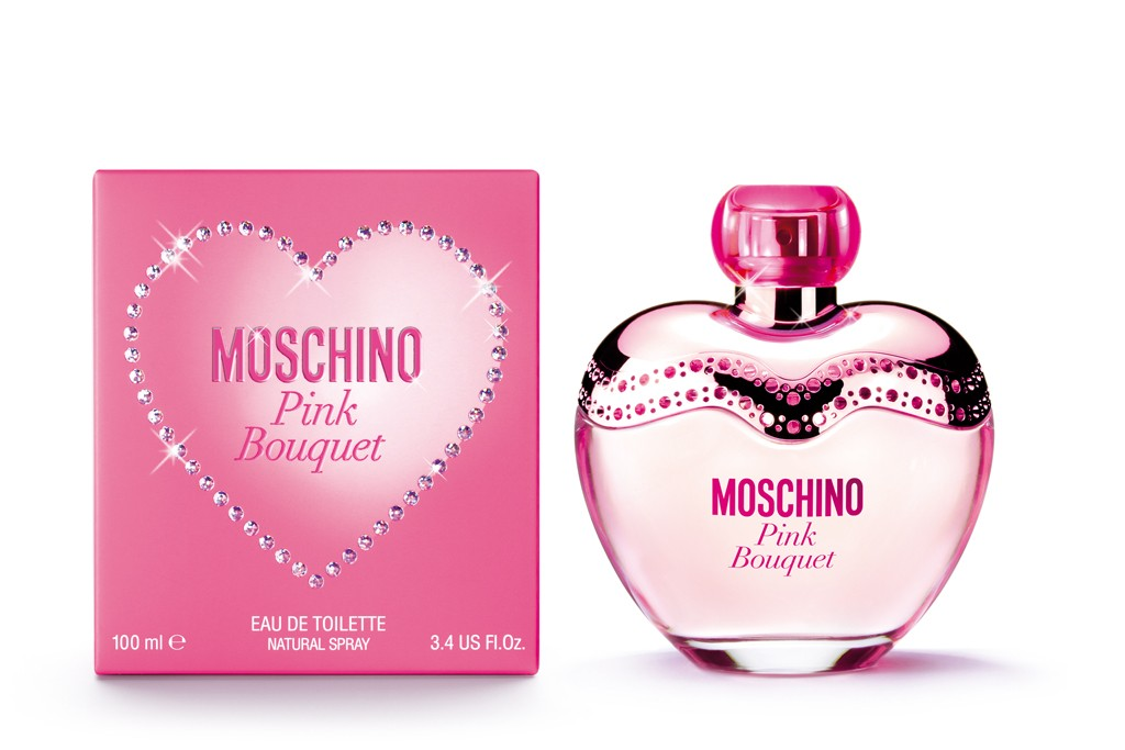 Moschino's Pink Bouquet bottle and packaging.