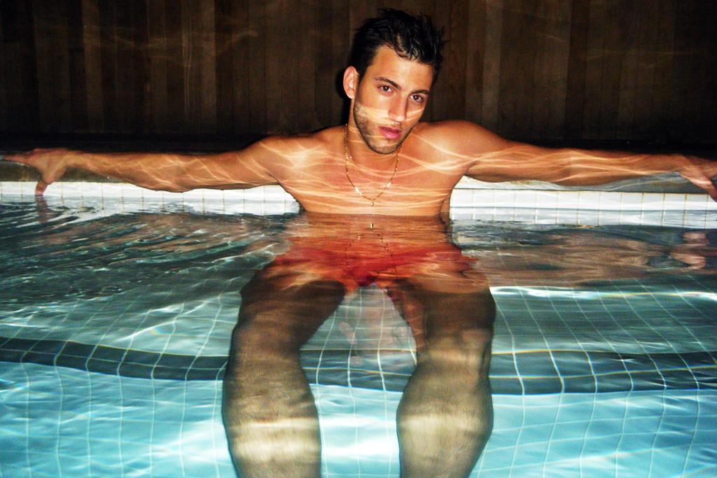 Tommy Hilfiger's poly swim trunks.